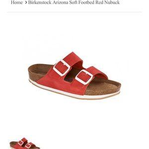 Birkenstock Arizonas in red